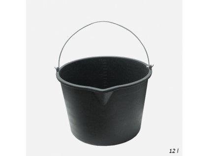 Den Braven - Vědro stavební s výlevkou, 12 litrů, plastové, černé