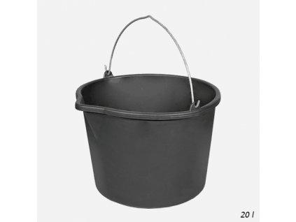 Den Braven - Vědro stavební s výlevkou, 20 litrů, plastové, černé