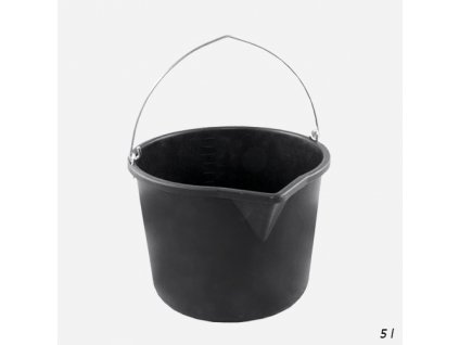 Den Braven - Vědro stavební s výlevkou, 5 litrů, plastové, černé