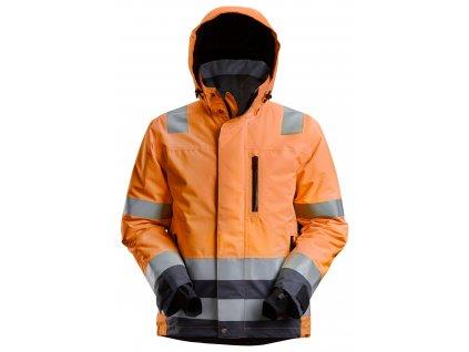 Bunda reflexní voděodolná AllroundWork, třída 3 oranžová vel. XL Snickers Workwear