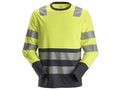 Triko AllroundWork reflexní s dlouhým rukávem, tř. 2 žlutočerné Snickers Workwear