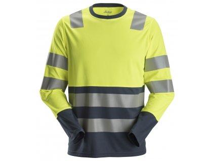 Triko AllroundWork reflexní s dlouhým rukávem, tř. 2 žlutomodré XS Snickers Workwear