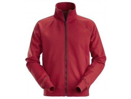 Mikina na zip červená XS Snickers Workwear
