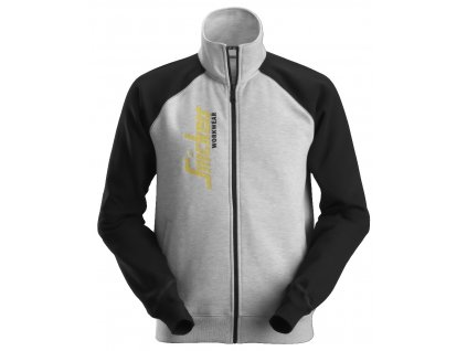 Mikina na zip se svislým logem šedá XS Snickers Workwear