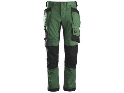 Kalhoty AllroundWork Stretch s PK tmavě zelené Snickers Workwear