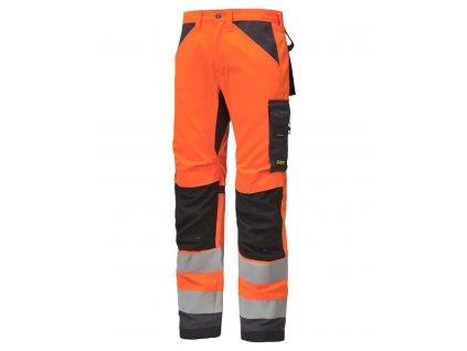 Kalhoty reflexní AllroundWork+, třída 2 oranžové Snickers Workwear