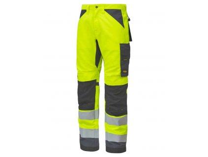 Kalhoty reflexní AllroundWork+, třída 2 žluté Snickers Workwear