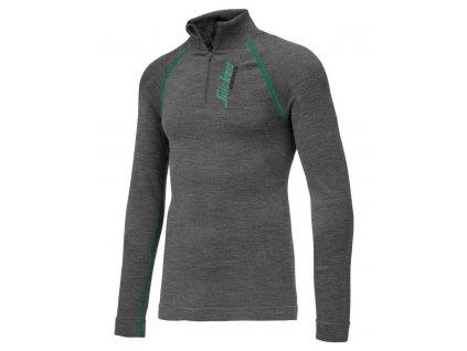 Triko funkční vlněné FlexiWork s dl. rukávem na 1/2 zip vel. XS Snickers Workwear