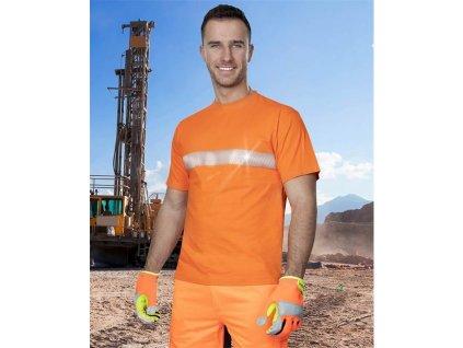 Tričko ARDON®XAVER s reflex. pruhem oranžové