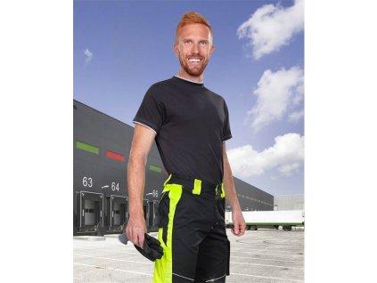 Kalhoty do pasu NEON černo-žluté zkrácené (48-50)