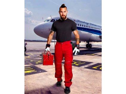 Kalhoty do pasu URBAN+ jasně červené zkrácené