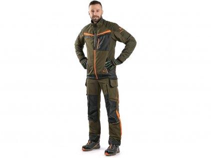 Kalhoty CXS NAOS pánské, khaki-olive, HV oranžové doplňky