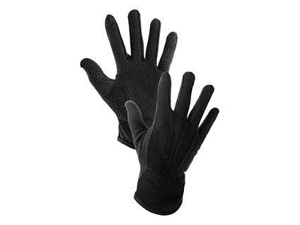 Textilní rukavice MAWA, s PVC terčíky, černé