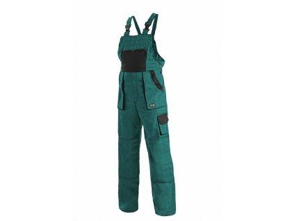 Canis CXS LUXY ROBIN kalhoty s náprsenkou zeleno-černé (Velikost/varianta 68)