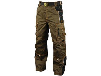 VISION O2 pracovní kalhoty monterkové do pasu hnědé (Velikost/varianta 64)