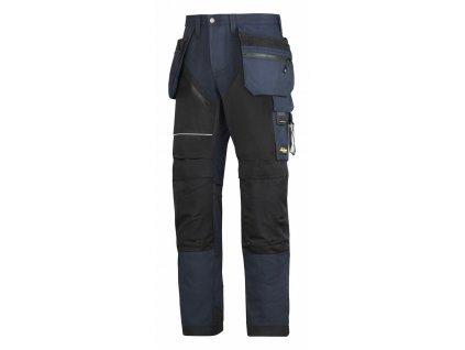 RUFFWORK+, s pouzdrovými kapsami pracovní kalhoty černo-modré (Velikost/varianta 64)