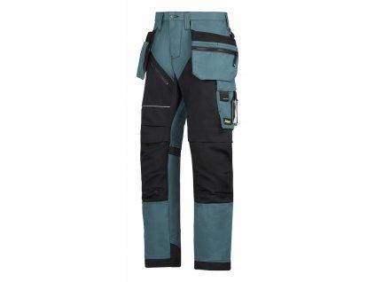 RUFFWORK+, s pouzdrovými kapsami pracovní kalhoty černo-petrolejové (Velikost/varianta 64)