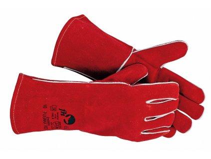 PUGNAX RED svářečské rukavice z hovězí štípenky vel.10 červená (Velikost/varianta 10)