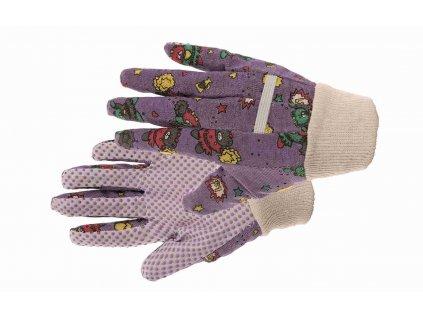 SWEET  bavlněné dětské rukavice s PVC terčíky fialové (Velikost/varianta 08)