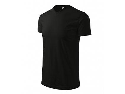 Heavy V-neck tričko unisex černá