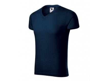 Slim Fit V-neck tričko pánské námořní modrá