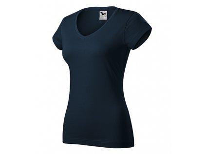 Fit V-neck tričko dámské námořní modrá