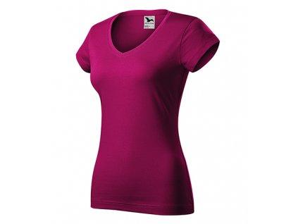 Fit V-neck tričko dámské fuchsia red