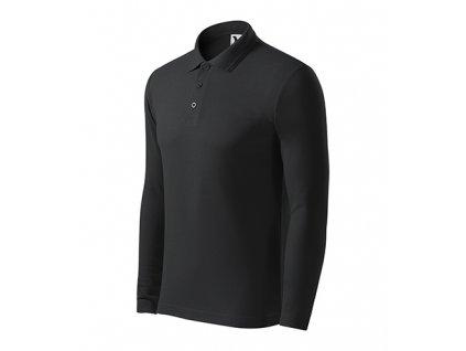 Pique Polo LS polokošile pánská ebony gray
