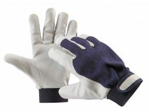 PELICAN BLUE rukavice z lícové kozinky a bavlny manžeta na suchý zip (Velikost/varianta 11)