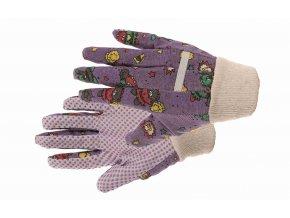 SWEET  bavlněné dětské rukavice s PVC terčíky fialové