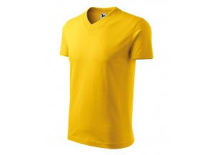 V-neck tričko unisex žlutá