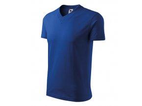 V-neck tričko unisex královská modrá