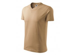 V-neck tričko unisex písková