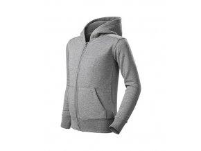 Trendy Zipper mikina dětská tmavě šedý melír