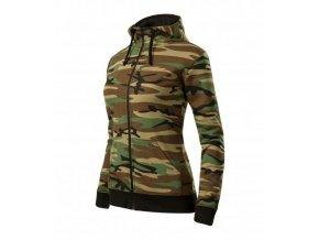 Camo Zipper mikina dámská camouflage brown