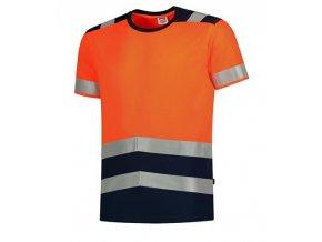 T-Shirt High Vis Bicolor tričko unisex fluorescenční oranžová