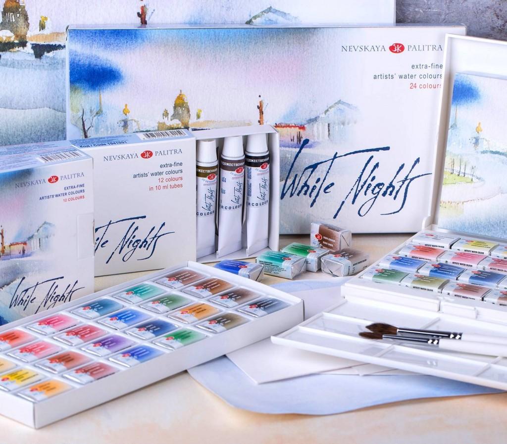 Akvarelové sady - White Night - Medové barvy