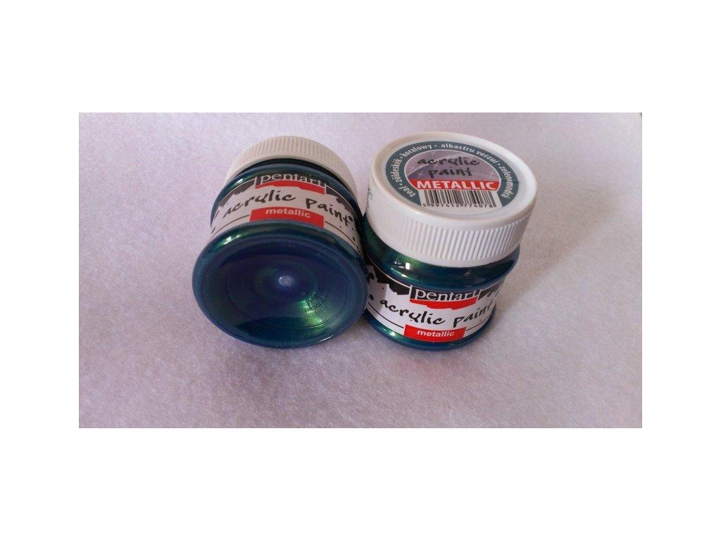 Akrylová barva metalická, zelenomodrá, 50 ml, Pent Art