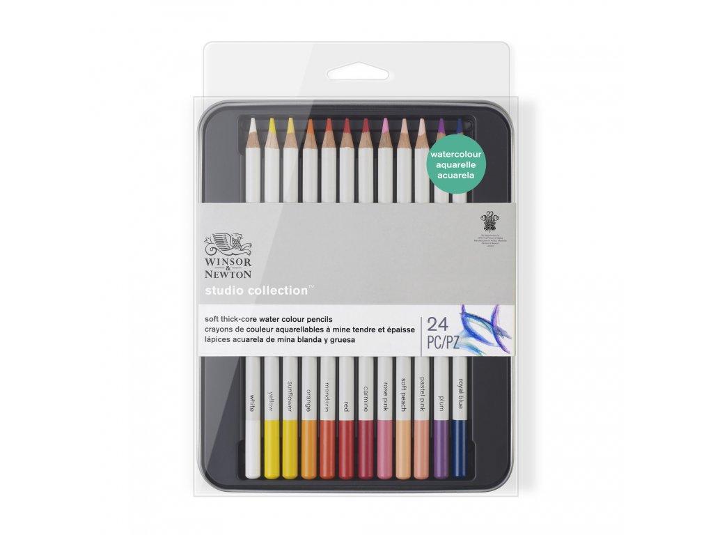 Akvarelové pastelky Winsor & Newton 24 ks v plechové krabičce