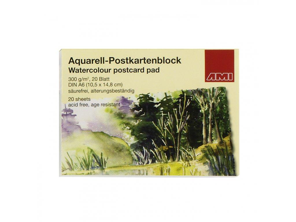 Akvarelové pohlednice v bloku,300 g/ m2, A6 , 20 listů, 10,5x14,8 cm.