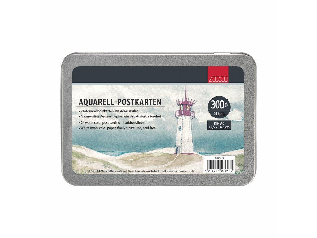 Akvarelové pohlednice, 24 ks, A6, 300g, v plechové krabičce.