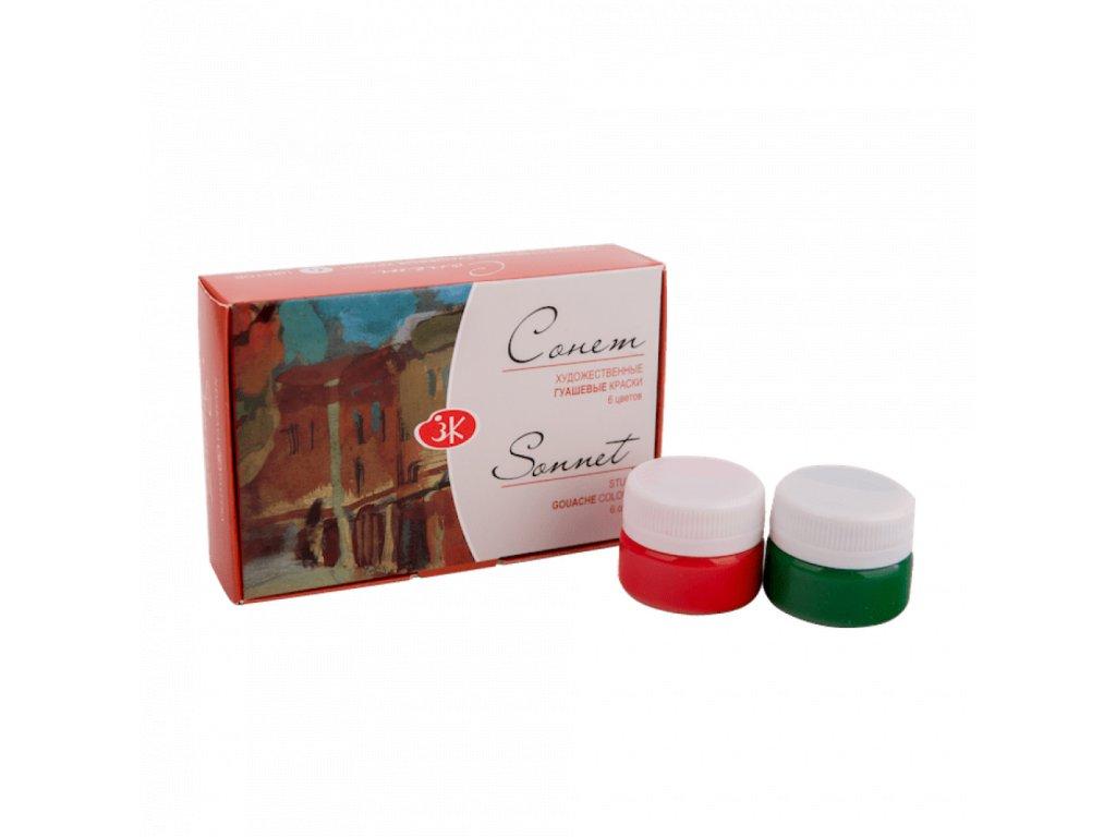 Kvašové barvy Sonnet, zn. Nevskaya Palitra, 6 ks, 20 ml