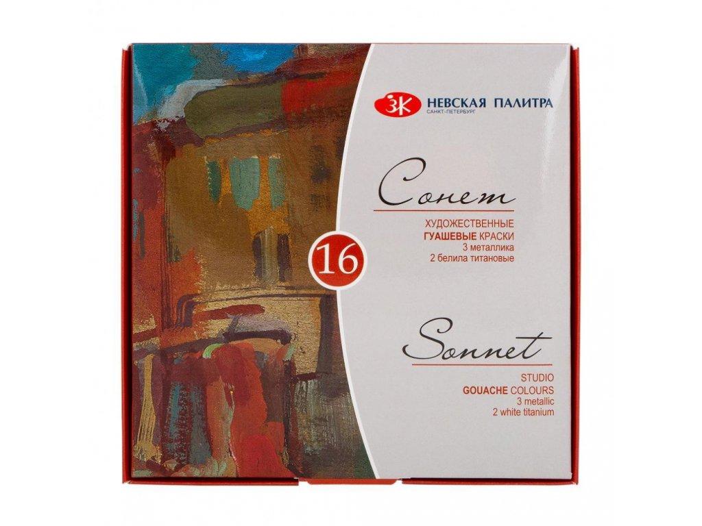 Kvašové barvy Sonnet, zn. Nevskaya Palitra, 16ks, 20 ml
