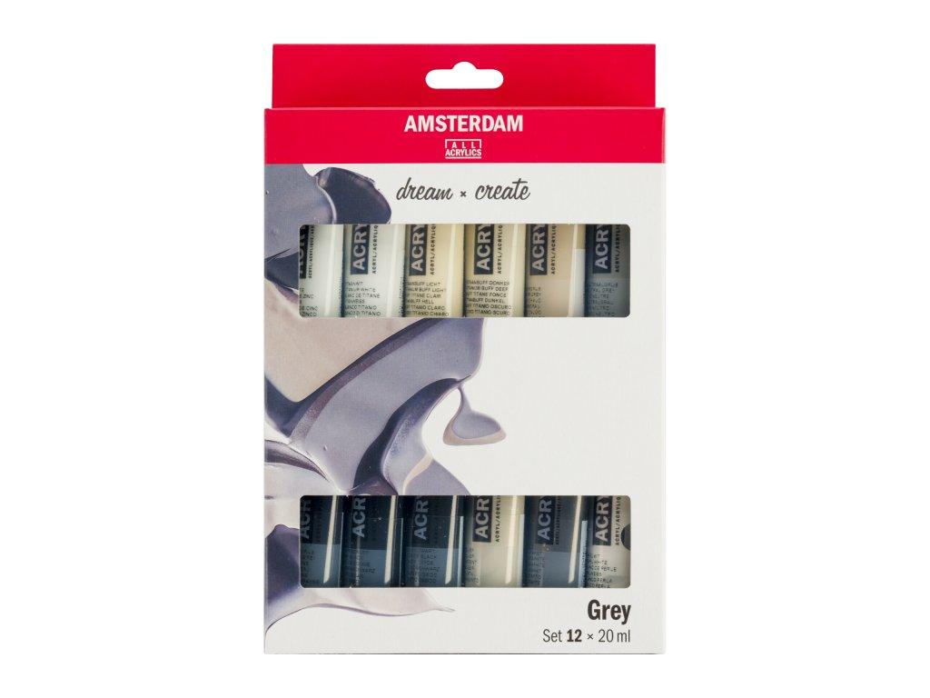 Sada akrylů Amsterdam Šedé odstíny 12x20ml