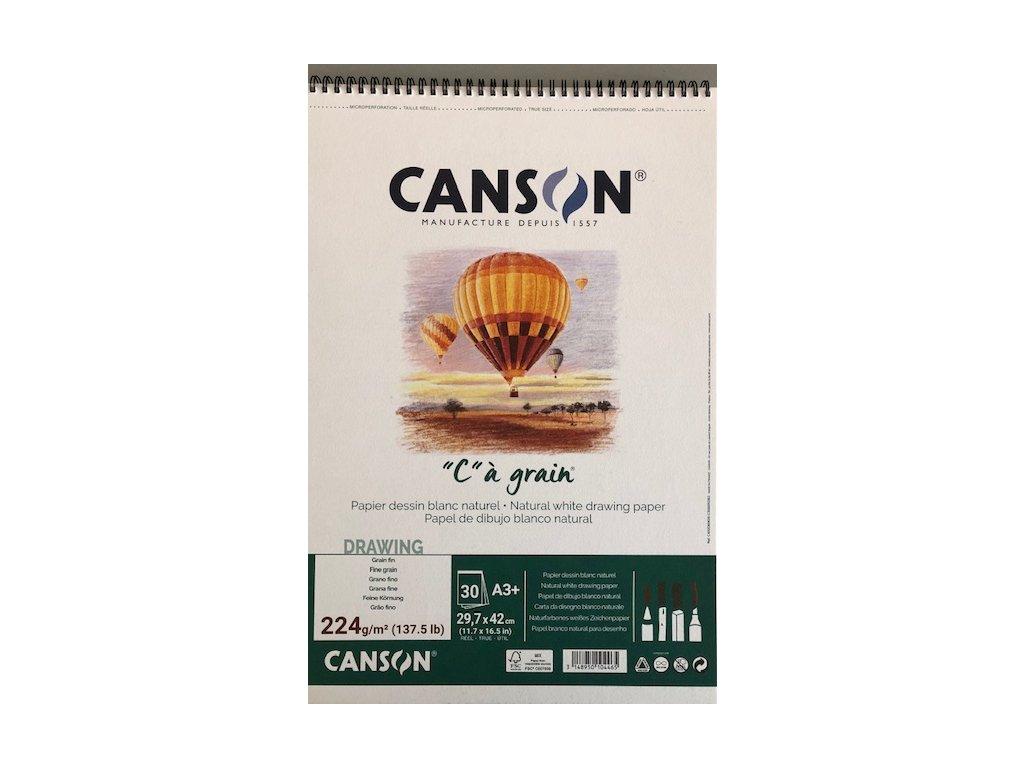 """""""C"""" a grain skicák krouž.vazba Canson A 4 224 g/m² šedý"""
