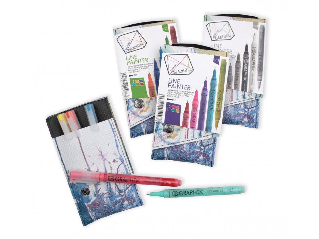 Umělecká pera Derwent set 5 barev