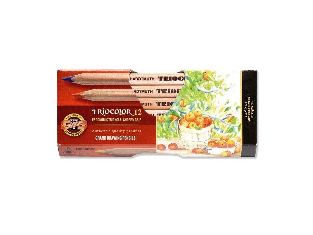 Pastelky TRIOCOLOR - natur 12 ks