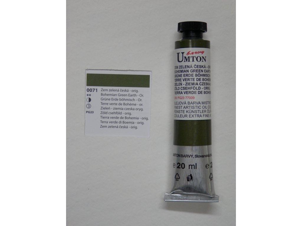 Olejová barva UMTON 20 ml - zem zelená česká originál 71