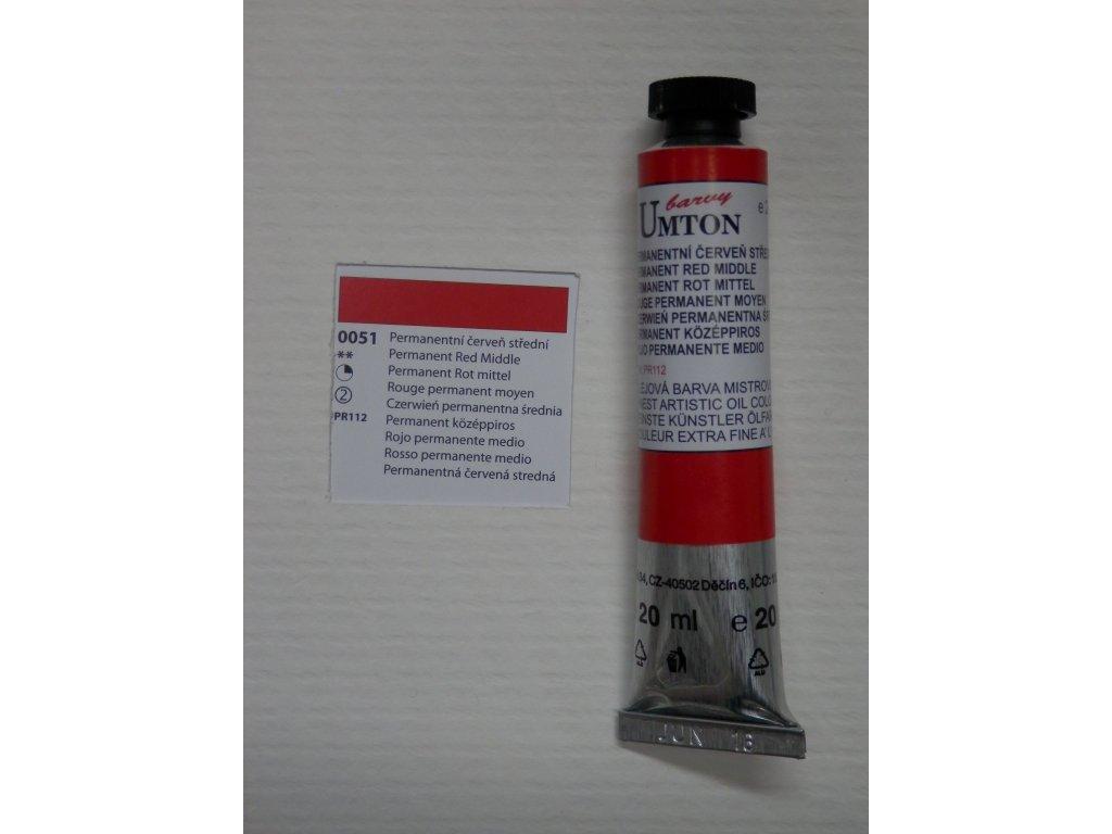 Olejová barva UMTON 20 ml - permanentní červeň střední 51
