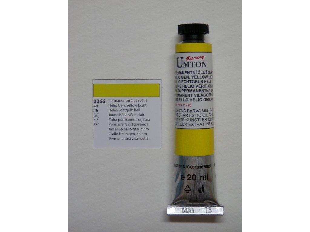 Olejová barva UMTON 20 ml - permanentní žluť světlá 66